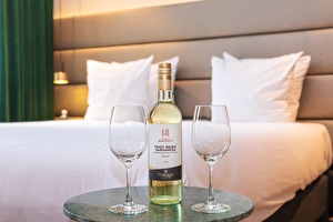 White wine in the hotel room